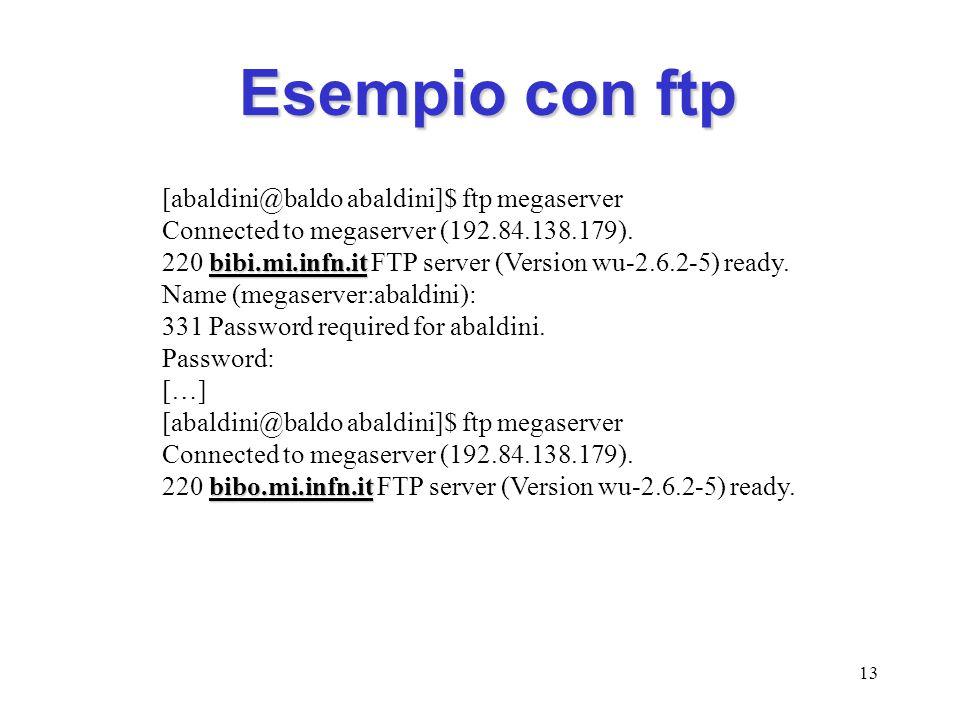Esempio con ftp [abaldini@baldo abaldini]$ ftp megaserver